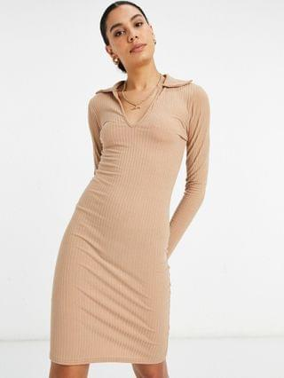 WOMEN New Look Tall polo collar ribbed dress in camel