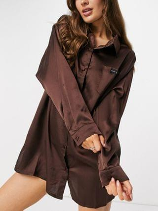 WOMEN Public Desire relaxed satin night shirt with embroidered pocket in chocolate