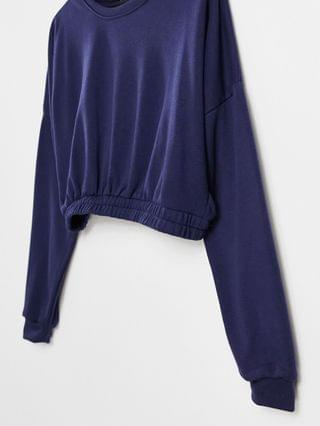 WOMEN South Beach oversized cropped sweatshirt in navy blue