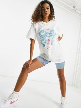 WOMEN New Girl Order Exclusive oversized dragon t shirt in white