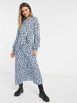 WOMEN New Look belted midaxi shirt dress in blue polka dot
