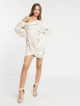 WOMEN Ever New mini dress with drape shoulder in ivory