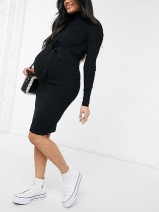 WOMEN Mamalicious Maternity knitted mini dress with roll neck in black