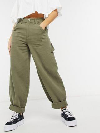 WOMEN Petite slouchy joggers in khaki cheesecloth