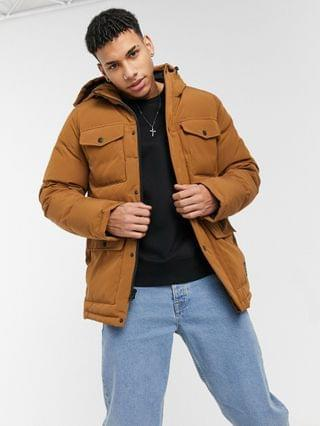 TEST LEVI Levi's arctic cloth midweight parka jacket with sherpa lined hood in worker brown