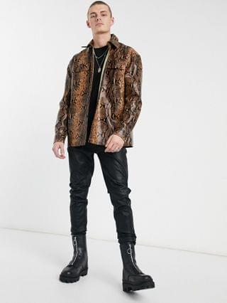 Reclaimed Vintage inspired leather look shirt in animal