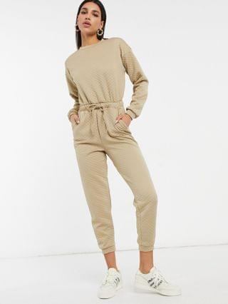 WOMEN quilted basic sweatpants jumpsuit in stone