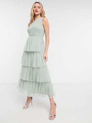 WOMEN Anaya With Love Bridesmaid tulle one shoulder ruffle tiered midaxi dress in sage