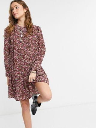 WOMEN Only mini smock dress with pep hem in purple floral