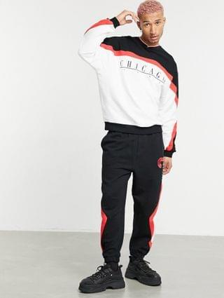 co-ord tracksuit with Chicago print & retro colour block