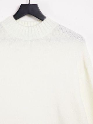 Bershka oversized sweater with crew neck in white
