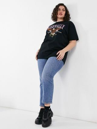 WOMEN Simply Be 'eternally' graphic T-shirt in black