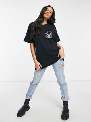 WOMEN New Girl Order Exclusive Outta This World oversized slogan t shirt in black