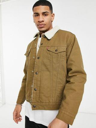 TEST LEVI Levi's Type 3 sherpa lined canvas trucker jacket in cougar brown