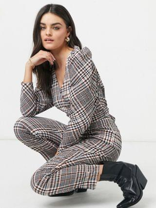 WOMEN belted extreme sleeve jumpsuit in check print