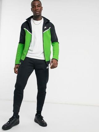 Nike Tall Tech Fleece full zip color block hoodie in green and black