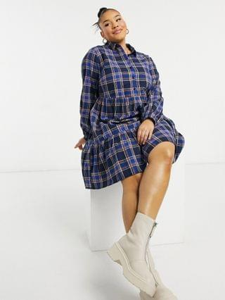 WOMEN New Look Curve button front plaid smock mini dress in blue pattern