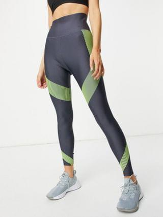 WOMEN PUMA Training elevated leggings in gray and lime