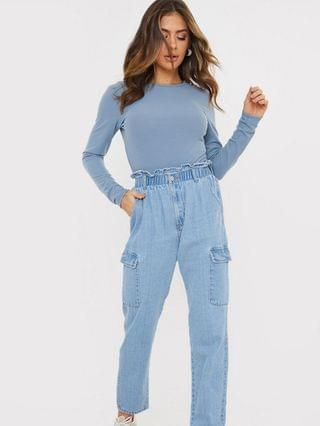 WOMEN In The Style x Billie Faiers cargo pocket jeans in stone wash blue