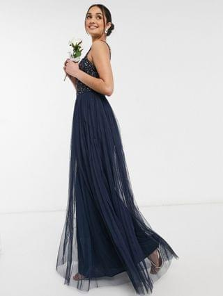 WOMEN Maya Bridesmaid sleeveless square neck maxi tulle dress with tonal delicate sequin overlay in navy