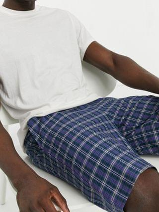 lounge pajama shorts in blue plaid