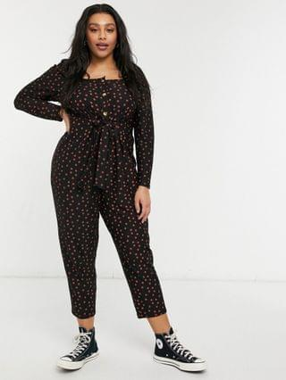 WOMEN Curve button front square neck peg leg jumpsuit in red polka dot