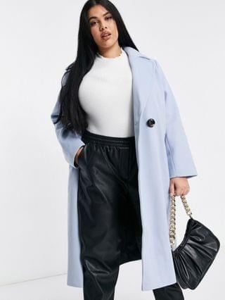 WOMEN River Island Plus relaxed double breasted tailored coat in light blue