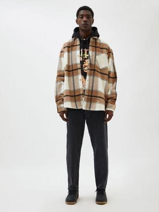 Pull&Bear plaid overshirt in brown