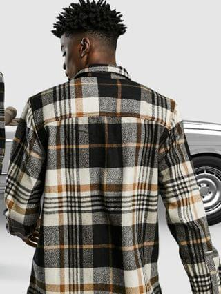 wool mix overshirt in brown tartan check with chest pockets