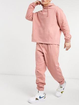 oversized tracksuit with hoodie and sweatpants in pink