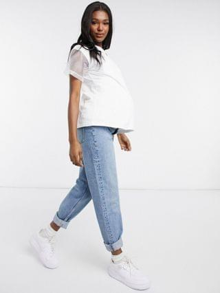WOMEN Maternity nursing double layer t-shirt with embroidered sleeve