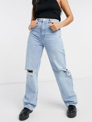 WOMEN Pull&Bear dad jeans in light blue with rips