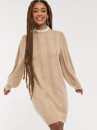 WOMEN knitted dress with lace detail in oatmeal