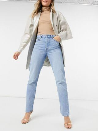 WOMEN & Other Stories Keeper organic cotton high waist straight leg longline jeans in washed stone