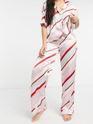 WOMEN mix & match satin candy stripe pajama shirt & pant set in multi