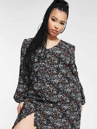 WOMEN Missguided Plus midi dress with button front in black floral