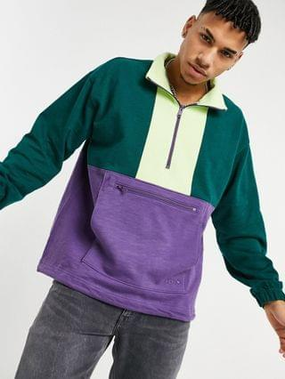 TEST LEVI Levi's 1/4 zip color block sweatshirt in logan berry green