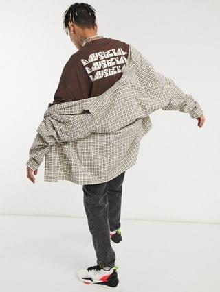 Daysocial oversized t-shirt with repeat back logo print in brown