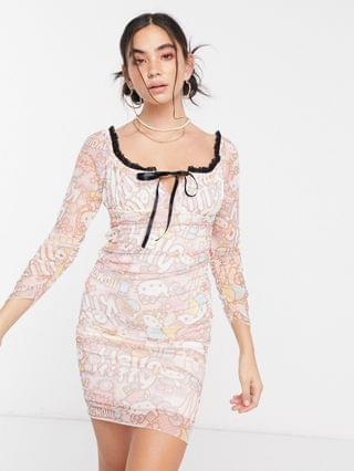 WOMEN New Girl Order x Hello Kitty ruched body-conscious dress in kitty printed mesh