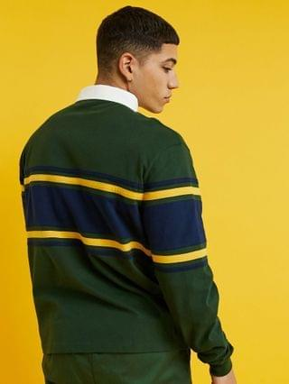 New Balance logo rugby shirt in green exclusive to