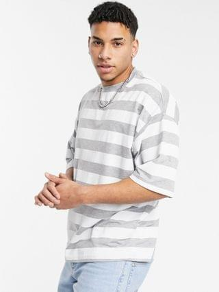 oversized striped t-shirt in gray heather & white