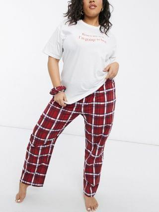 WOMEN Daisy Street Plus roses are red T-shirt and pajama bottoms set with scrunchie in plaid