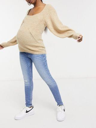 WOMEN Maternity sweater with square neck and volume sleeves in oatmeal