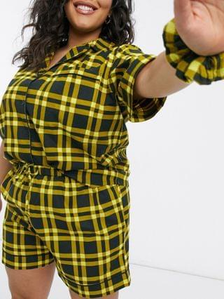WOMEN Daisy Street Plus short sleeve shirt and shorts pajama set with scrunchie in 90s plaid