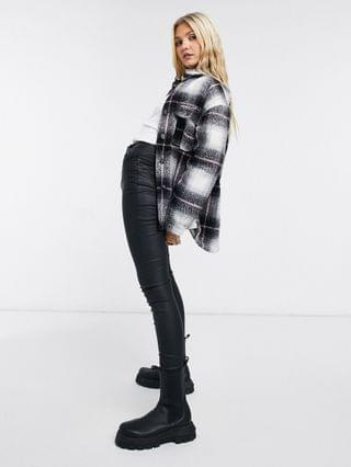 WOMEN Pull&Bear plaid overshirt shacket with pink stripe