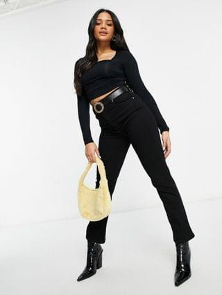 WOMEN square neck crop top with ruched seams in black