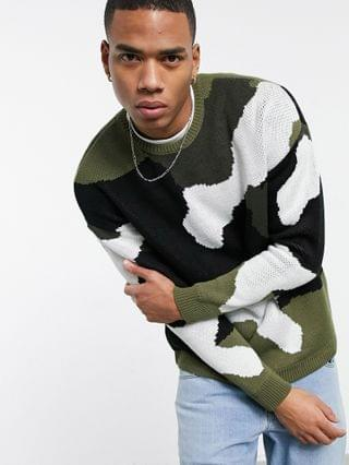 textured knit sweater in camo design