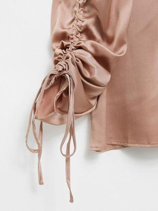 WOMEN In The Style Plus exclusive satin ruched sleeve top in rose