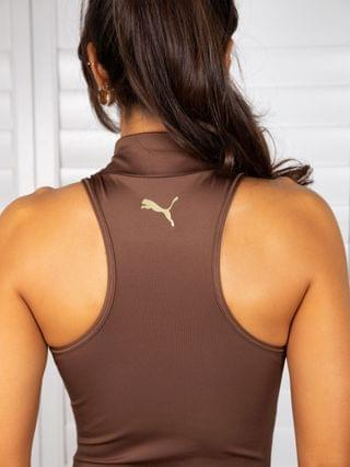 WOMEN Puma Training x Stef Fit high neck bodysuit in chocolate brown exclusive to