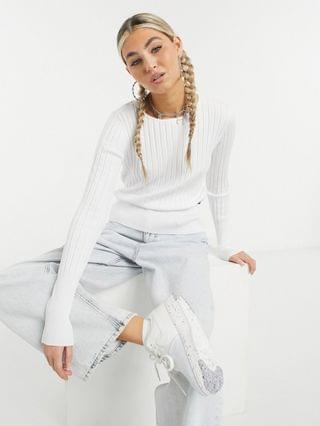 WOMEN Calvin Klein Jeans long sleeve ribbed crew neck top in white